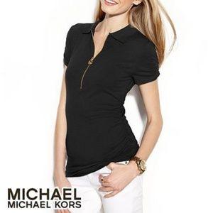 Michael Michael Kors Black Ruched Polo Zipper Top